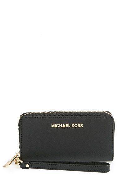 e95d6f234269 MICHAEL Michael Kors  Large Jet Set  Saffiano Leather Phone Wristlet  available at  Nordstrom