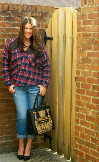 Forever 21 plaid shirt (click here for similar), Loft boyfriend jeans (click here to buy), Poshmark purse, Ellen Tracy heels 1. I got my hair cut/highlighted over the weekend...