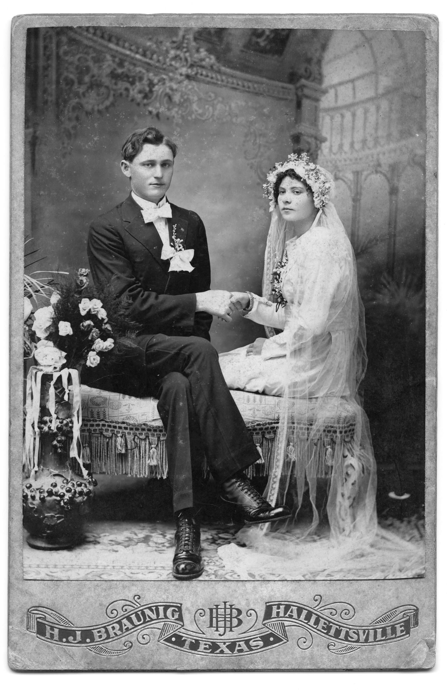 Wonderful veil.   Braunig, H. J.. [Portrait of an Unknown Couple], Photograph, 1909-1945; digital images, (http://texashistory.unt.edu/ark:/67531/metapth128913/ : accessed January 30, 2014), University of North Texas Libraries, The Portal to Texas History, http://texashistory.unt.edu; crediting Friench Simpson Memorial Library, Halletsville, Texas.