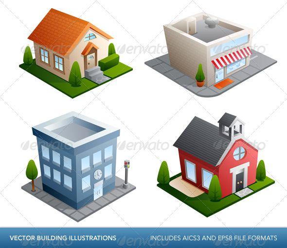 Set of 4 Building Icon