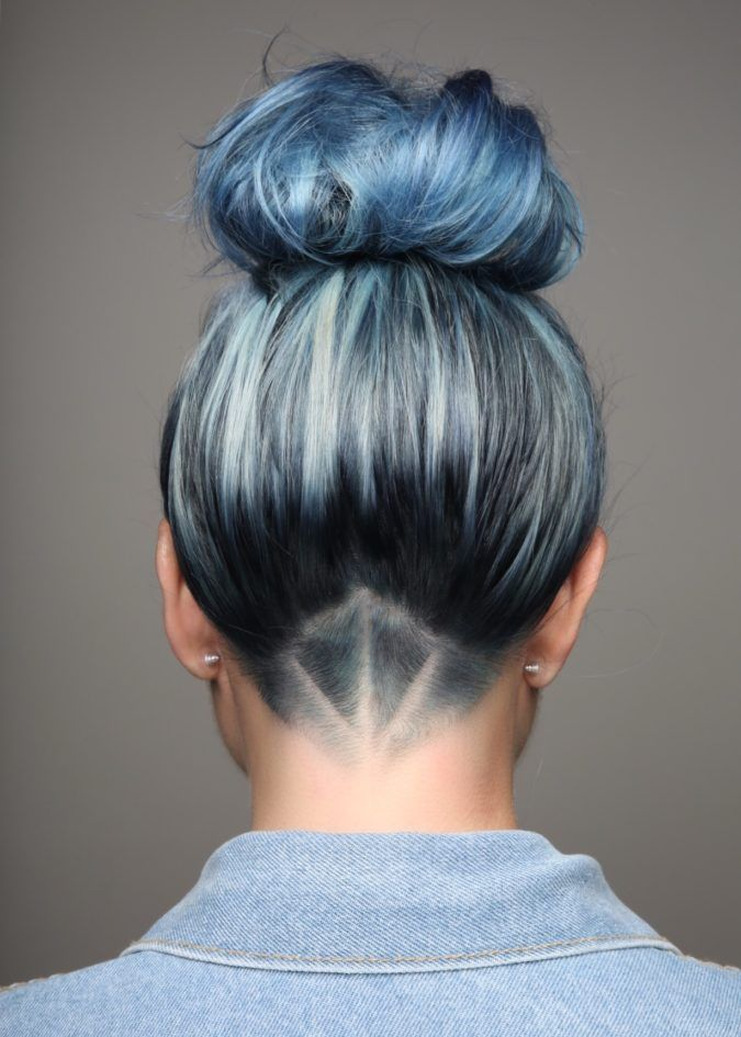 Detailed Undercut With Blue Hair Pinteres
