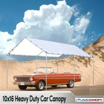 Shelter your vehicle or other properties from the sun, wind and rain. Choose our 10x16 Heavy Duty Car Canopy. This outdoor structure is packaged with the components and accessories you'll need for assembly. Look no further and order this quality outdoor canopy today.   10x16 Heavy Duty Car Canopy   Heavy-duty tarp cover  Full UV protection  Super heat resistant  Waterproof and weather resistant  Heavy-duty ball bungees  No tools required - easy set-up  Galv...