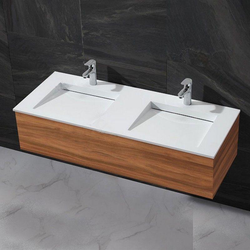 Vasque double robinet, double vasque à poser, lavabo double ...