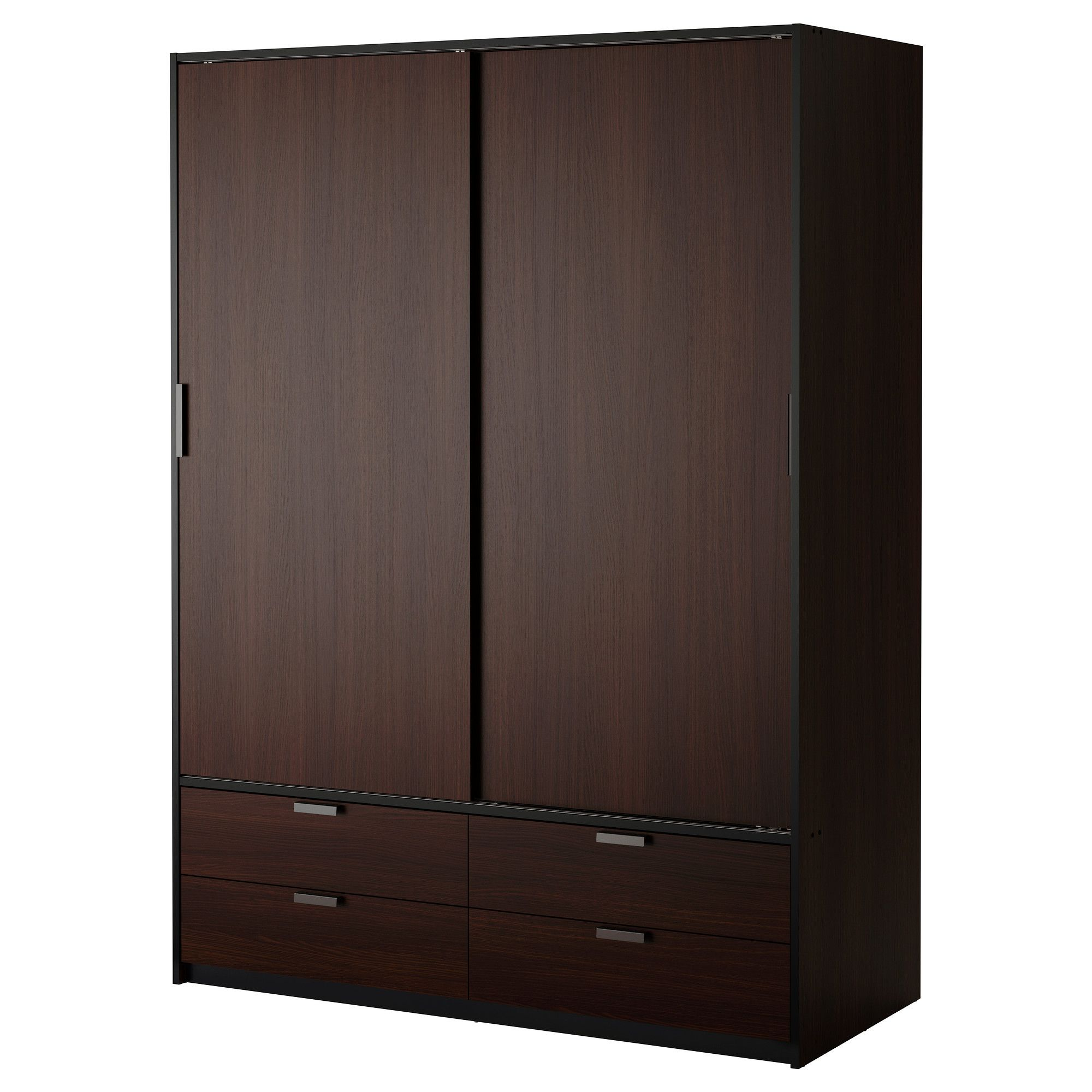 Possible Wardrobe Solution Trysil Wardrobe W Sliding Doors 4 Drawers Dark Brown Black Ikea