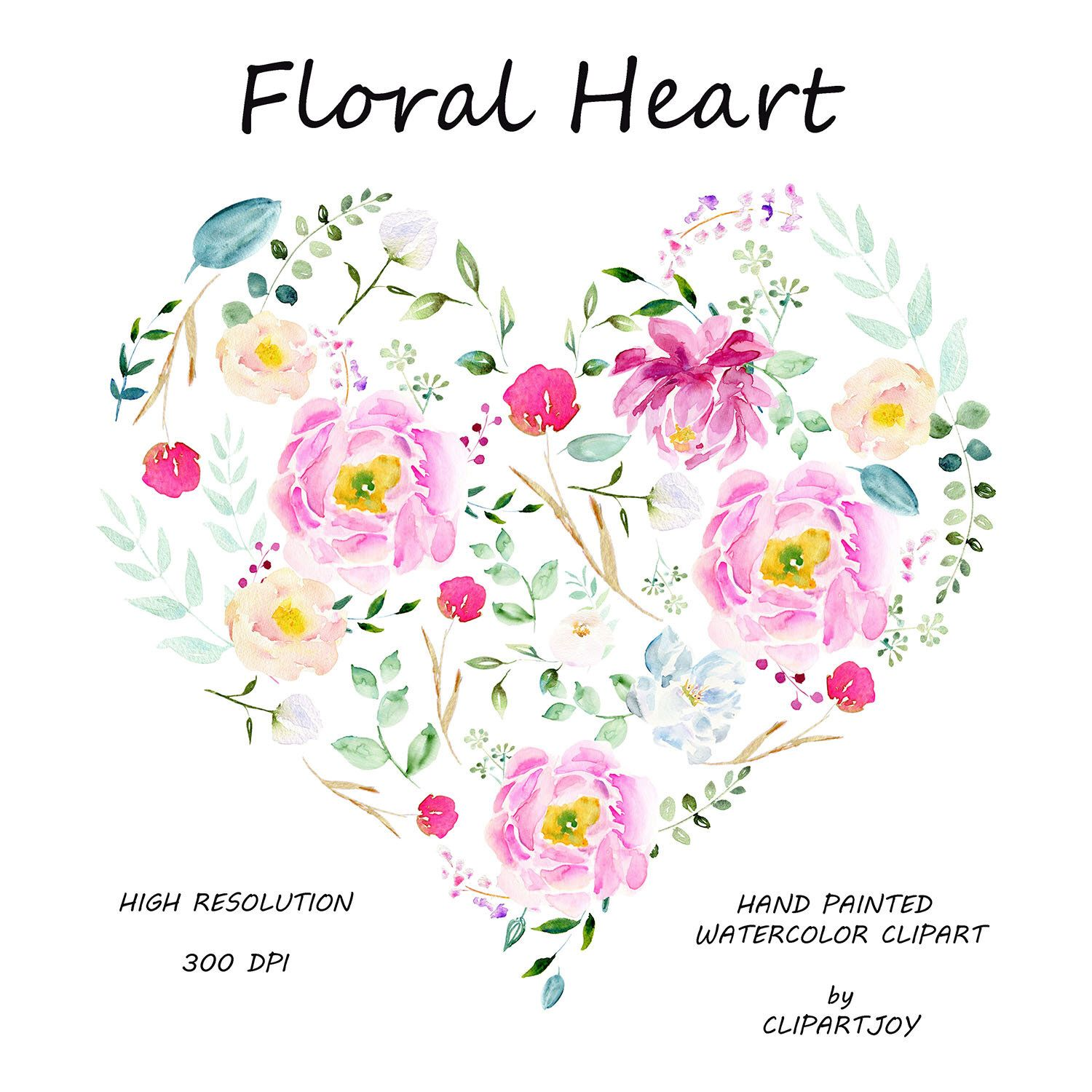 Floral Heart Flower Heart Watercolor Clipart Premade Botanical