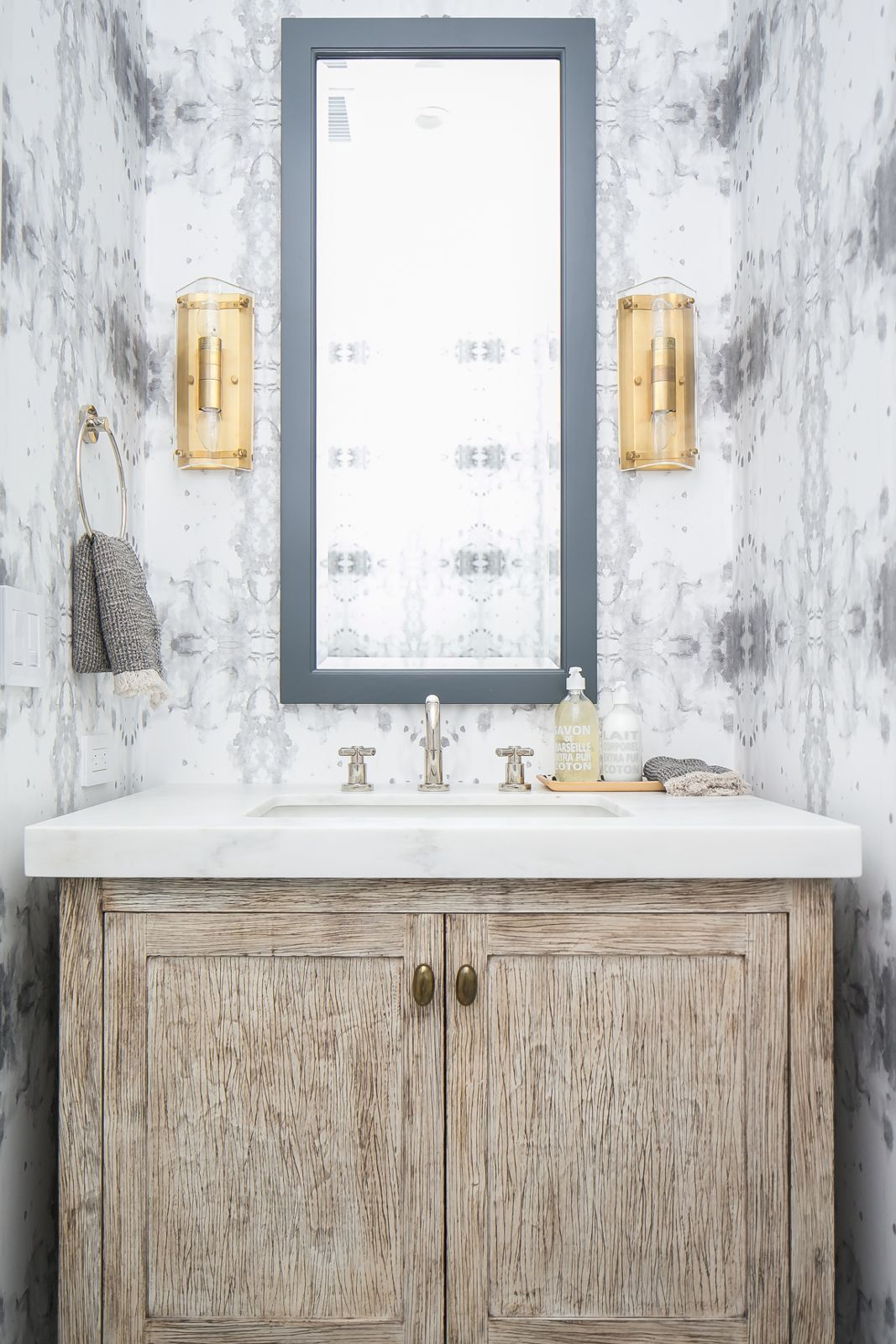White washed wood vanity and watercolor wallpaper | Brooke Wagner ...