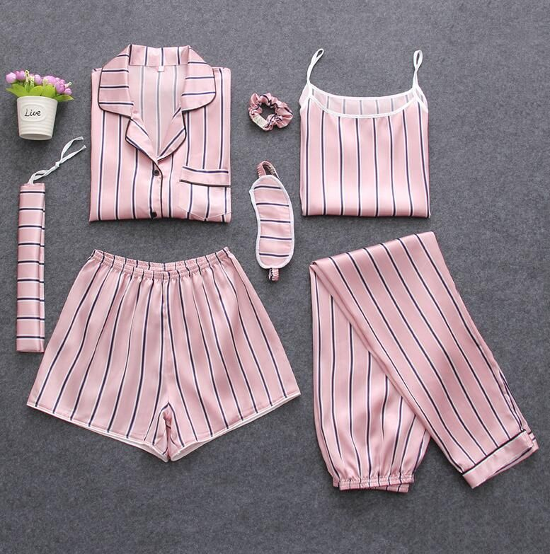 7 Pieces Womens Silk Satin Pajamas Sets Pyjamas Set Sleepwear Pijama Pajamas Suit Female Sleep Two Piece Set Loungewear