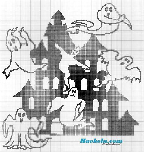 Geister Haus Halloween Filethäkeln Anleitung Kostenlos Häkeln