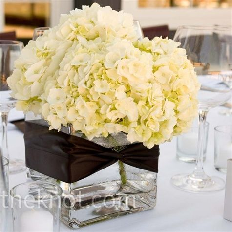 Centerpieces Of All White Hydrangeas In Square Vases With Brown Ribbon White Hydrangea Centerpieces Hydrangea Centerpiece White Hydrangea