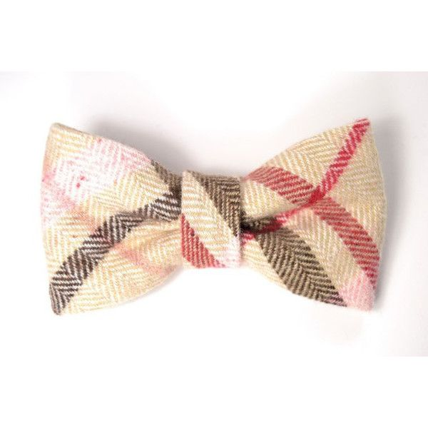 50% off SALE Men boy College pink, red and beige plaid bowtie Baby,... ($15) ❤ liked on Polyvore featuring mens, men's accessories, men's neckwear and bow ties