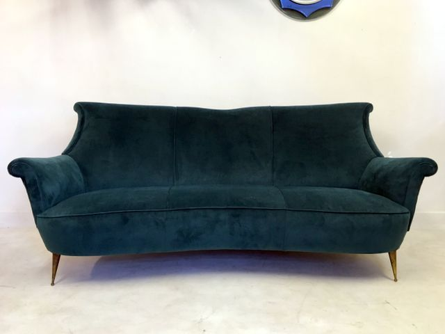 Excellent Italian Teal Velvet Sofa 1950S For Sale At Pamono Machost Co Dining Chair Design Ideas Machostcouk