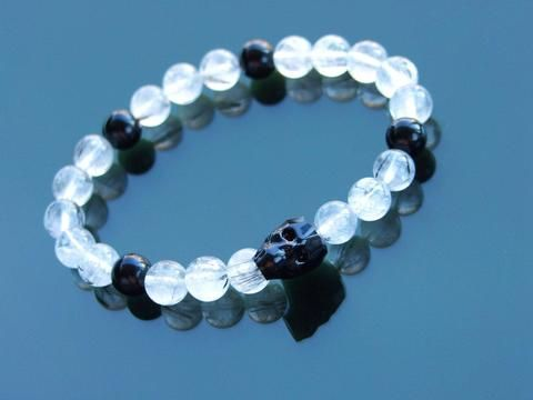 cbe2c7d50f49 Men s Rutilated Quartz Natural Gemstone Skull Bracelet with Swarovski  Crystal 6-9inch-Norbis Gemstone Bracelets-Michael s UK Jewellery