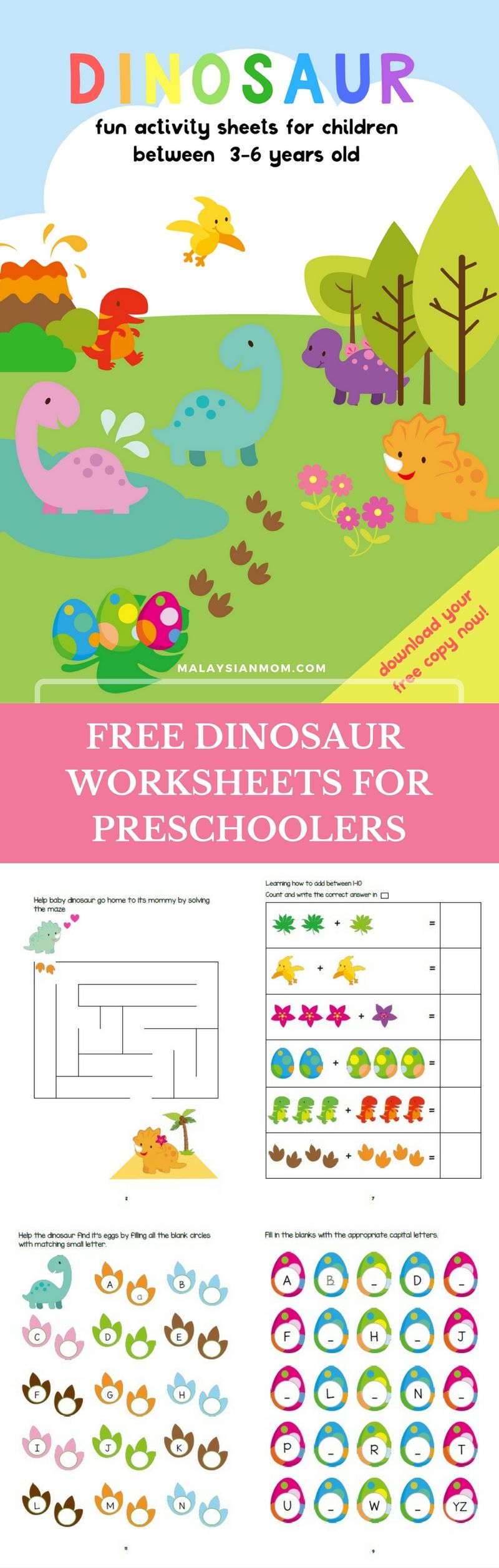 Dinosaur Preschool Printables   Activities   Worksheets for kindergarten    Party theme   DIY   Cute   mo…   Preschool fun [ 2510 x 800 Pixel ]