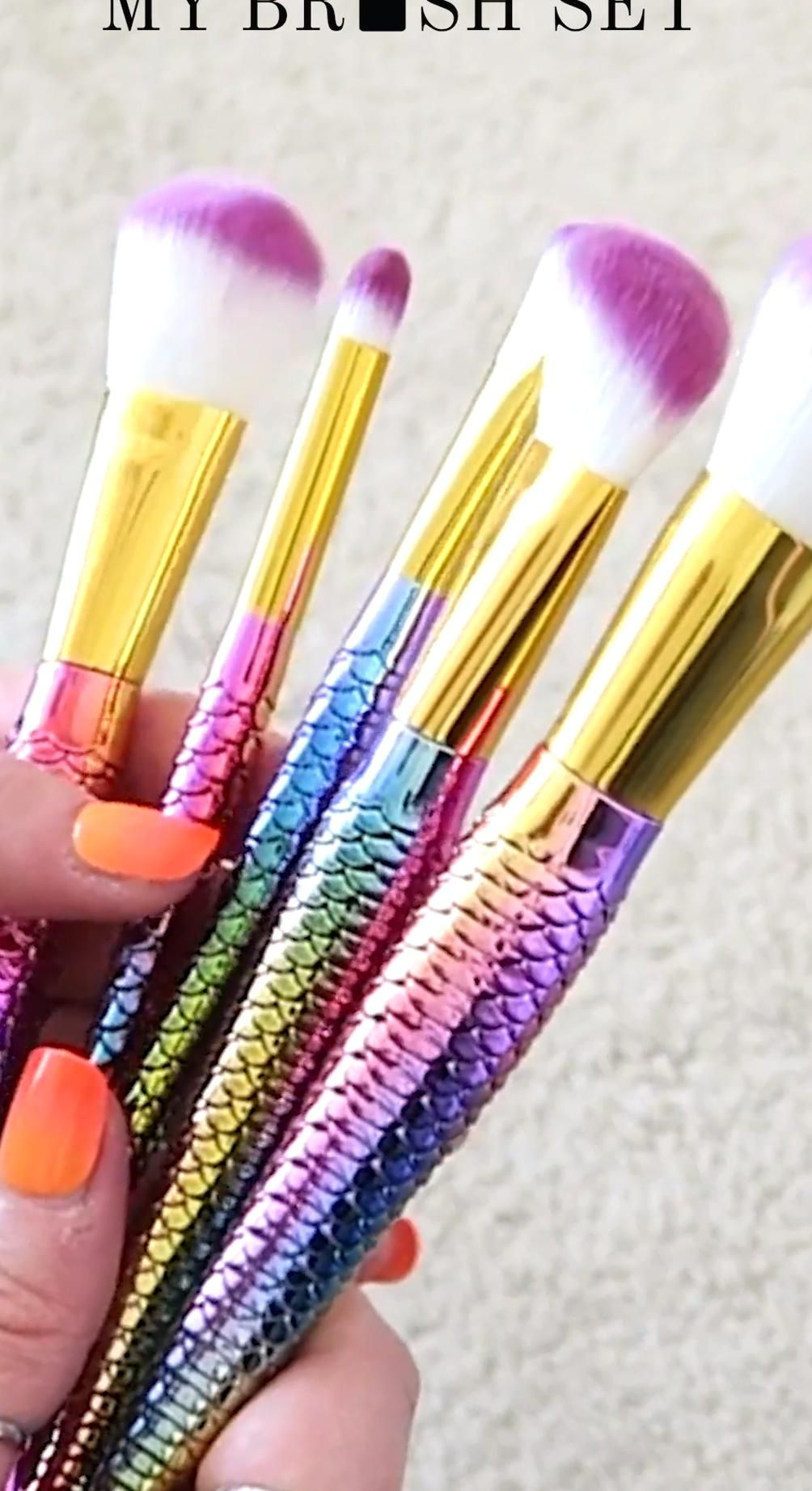 This 10 Piece Mermaid Tail Rainbow Brush Set is the