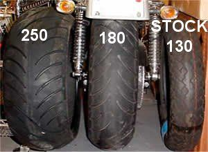 Tire Comparison 250 Series To The Left 180 In The Center Stock
