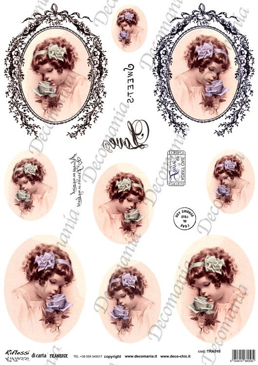 Codice: TRA018 Carta con disegni a colori ideale per il trasferimento d'immagine con l'utilizzo della soluzione DecoTRANSFERmania. DEC: LIQ125   Formato A3 ( 295x420 mm)  www.deco-chic.it