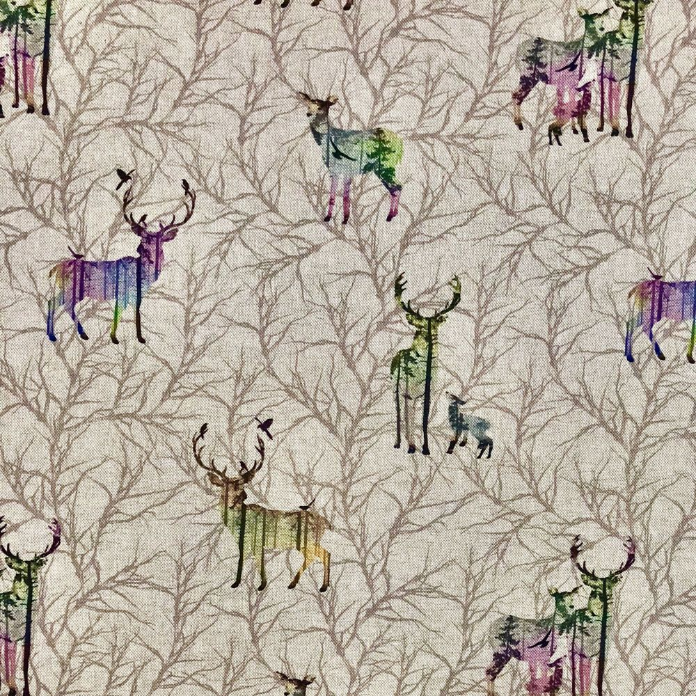 "Beach Huts Design Cotton Rich Linen Fabric Curtaining /& Upholstery 54/"" Width"