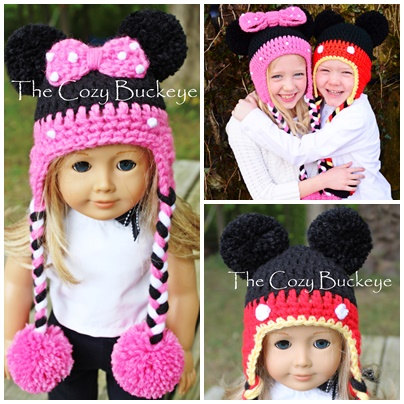 Instant Download Crochet Pattern Mickey Mouse Hat And Minnie Mouse