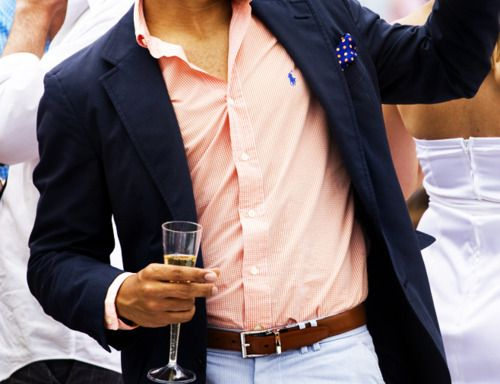 Light blue pants, orange button down, and navy blazer? I would not have thought of this color combo, but I love it!