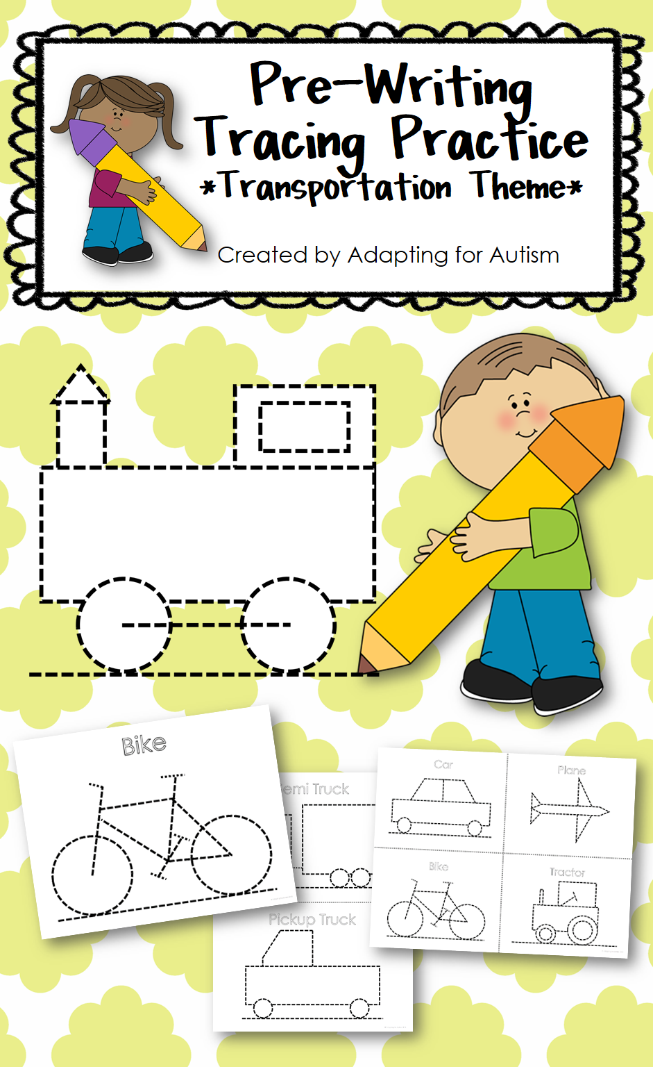 pre writing print and go tracing practice transportation theme preschool elementary special. Black Bedroom Furniture Sets. Home Design Ideas