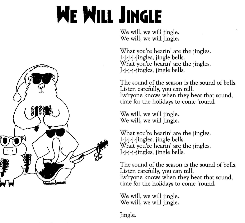 We will jingle lyrics Christmas songs for kids