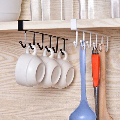 Kitchen Cup Holder Hang Cabinet Shelf Storage Rack Organizer 6 Hooks Ebay Kitchen Storage Rack Functional Kitchen Storage Kitchen Cups