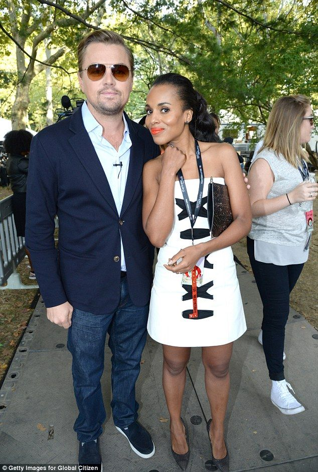 Ace match:Leonardo DiCaprio looked handsome as he put his arm around Scandal cutie Kerry ...