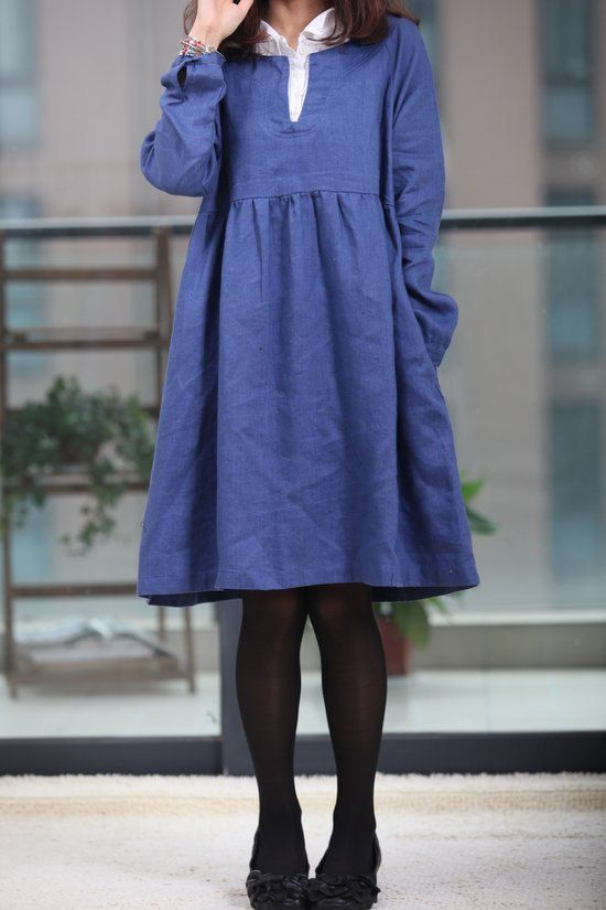 Double layer collar linen dress knee length dress by MaLieb, $75.00