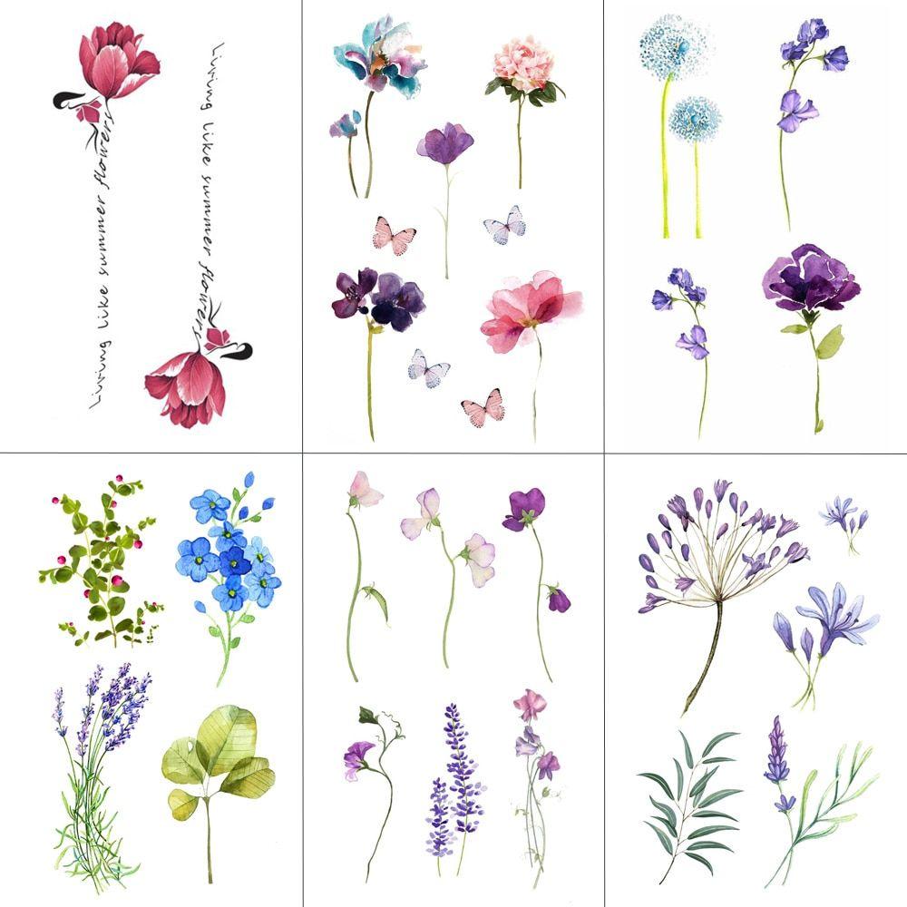 Fashion Colorful Flowers Tattoo Women New Waterproof
