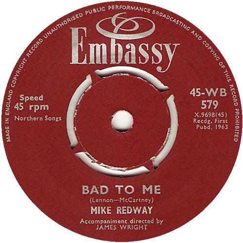 Bad To Me - Mike Redway (WB579) Aug '63