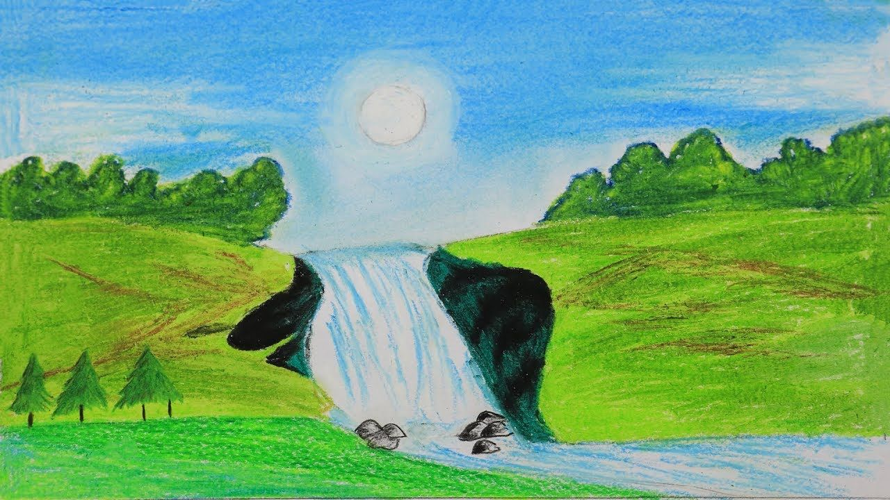 How To Draw A Scenery Of Stream Waterfall Step By Step With Oil Pastel Oil Pastel Easy Drawings Drawings