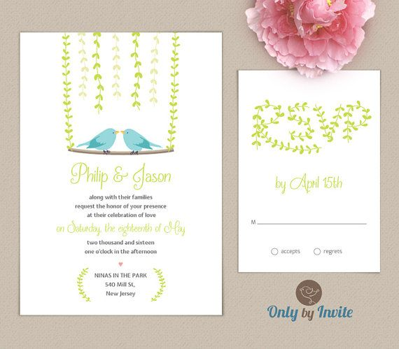 Wedding Invitation And Rsvp Card Set Same Gender Invitations Two Birds