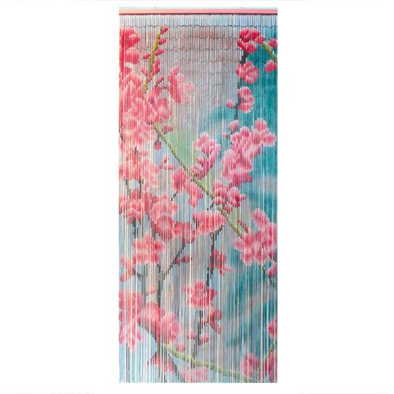 Rideau de porte 90 x h200 cm bambou fleurs entr e rideaux rideau de porte et portes - Rideaux de perles pour portes ...