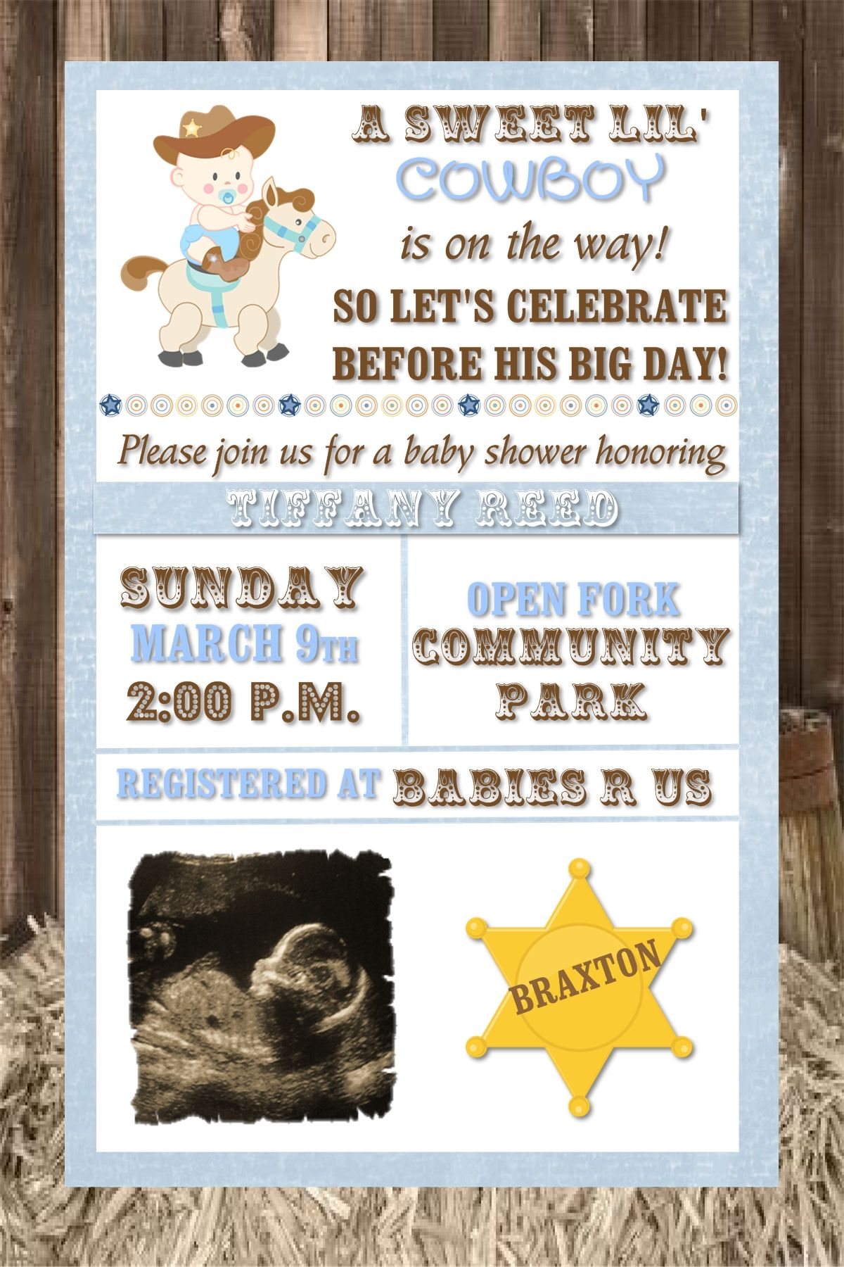Little Cowboy Western theme baby shower invitation. Could easily be ...
