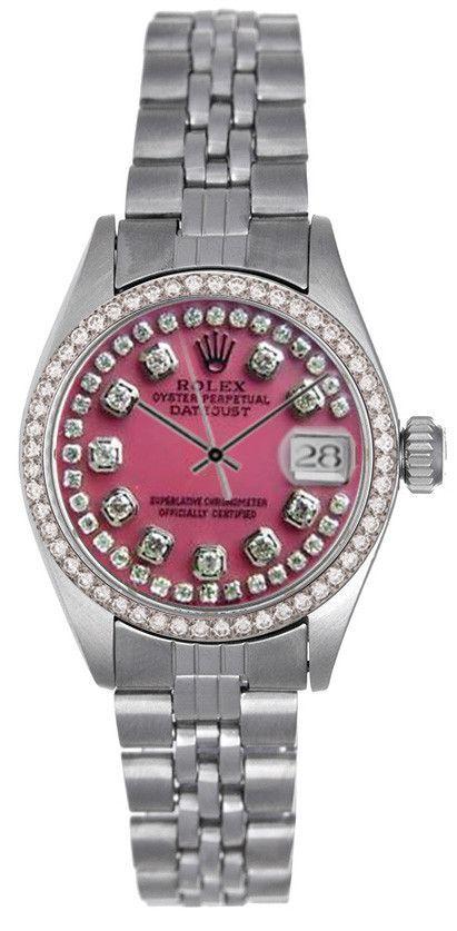 Rolex Datejust Ladies Pink MOP String Diamond Dial & Bezel / Jubilee Band