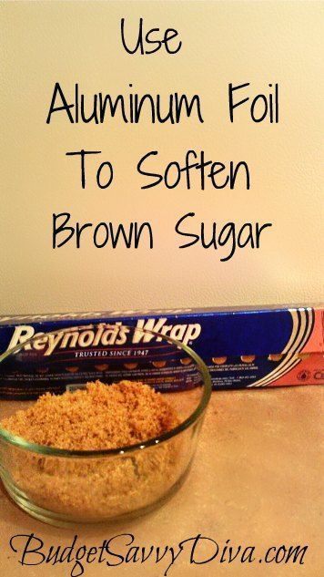 Aluminum Foil To Soften Brown Sugar Have hard brown sugar? Well no problem – wrap the brown sugar in aluminum foil and bake in the oven at 300 for 5 minutes. Result – nice soft brown sugarHave hard brown sugar? Well no problem – wrap the brown sugar in aluminum foil and bake in the oven at 300 for 5 minutes. Result – nice soft brown sugar