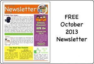 A free October newsletter with a three page printable ...
