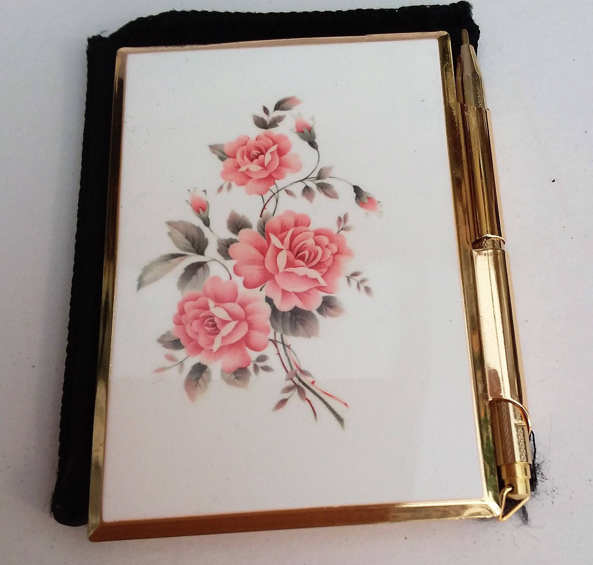 Stratton Compact Note Case Beautiful Pink Floral Design Gold Tone Case With Pen And 2 X Basildon Bond Pads Beautiful Pink Flowers Beautiful Pink Floral Design