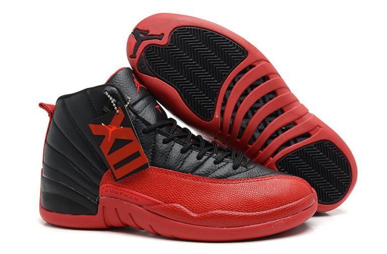 Air Jordan 12 Retro Basketball Shoes All Red Black TopDeals