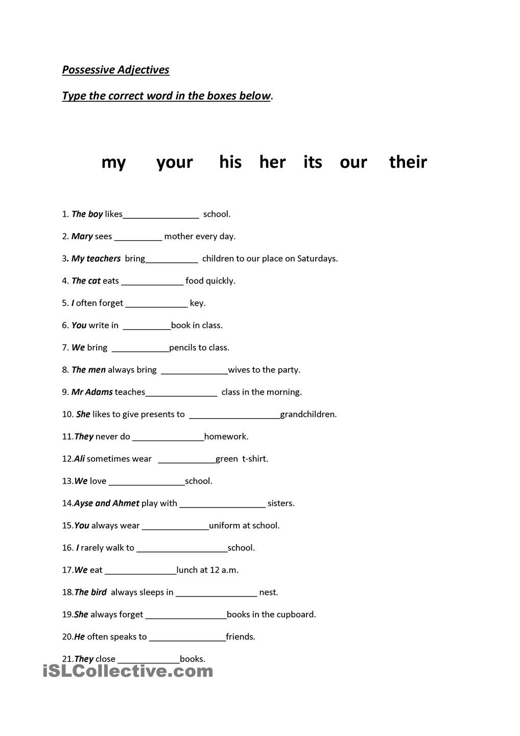 worksheet Exercise Worksheets english worksheet school supplies pictionary family members complete the sentences with words in box hope you find it interesting thank describing people reading speaking sp