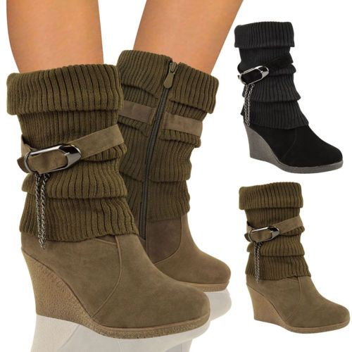 Women's Mid Wedge Heel Ankle Boots Size