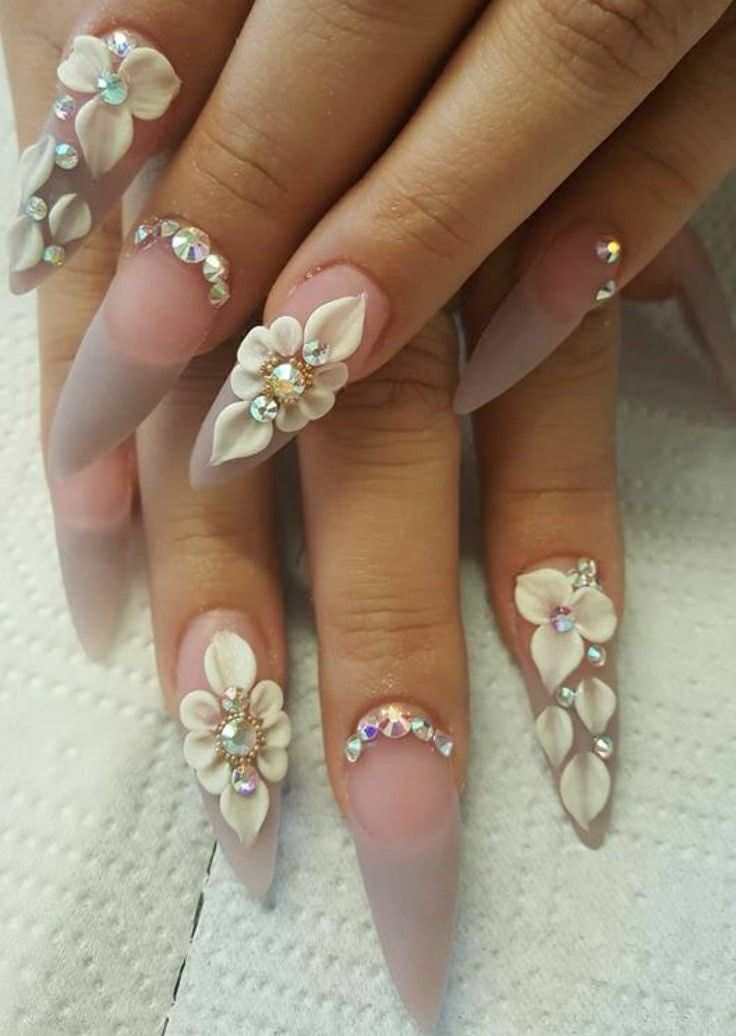 Stiletto Nails. 3d Flowers. Nails With Rhinestones. Wedding Nails ...