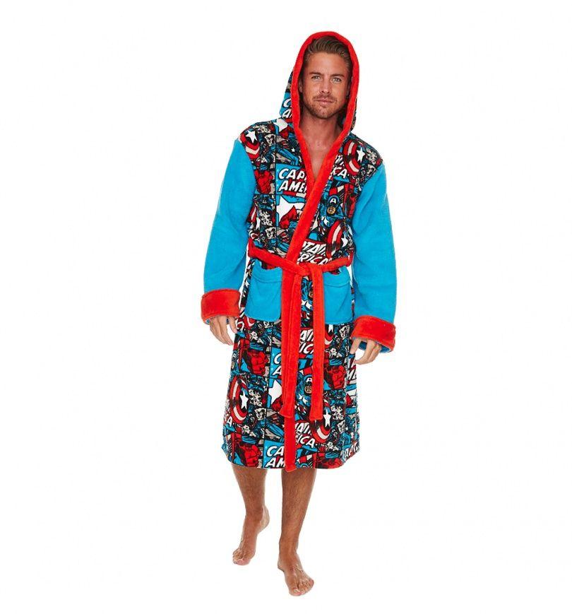 76644bbd96 Men s  Marvel  Comics  CaptainAmerica Comic Strip Hooded Fleece Dressing  Gown xoxo