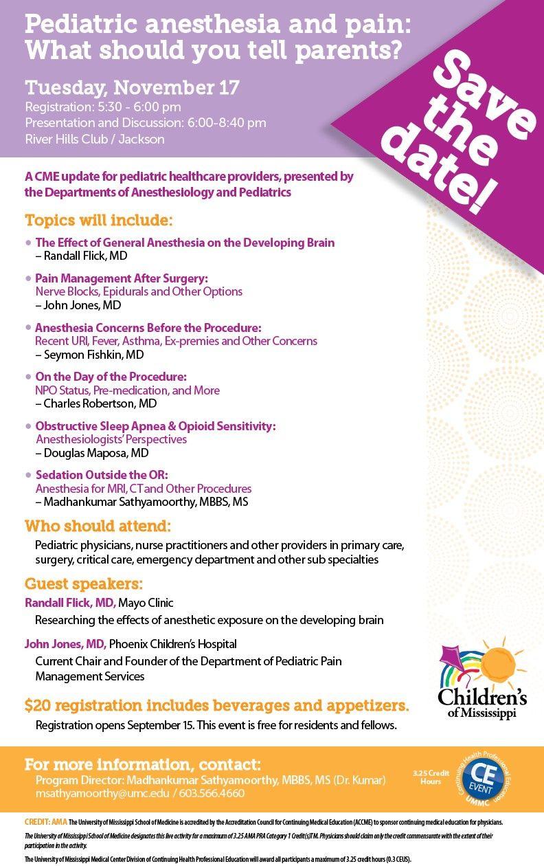 UMMC Home Pediatrics, Health science, Anesthesiology