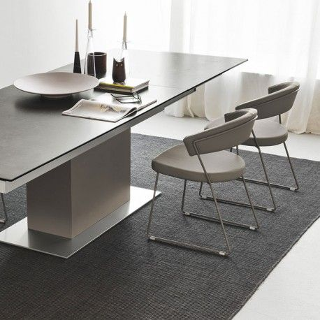Calligaris Sincro Table in Ceramic Lead Grey with Matt Taupe Base