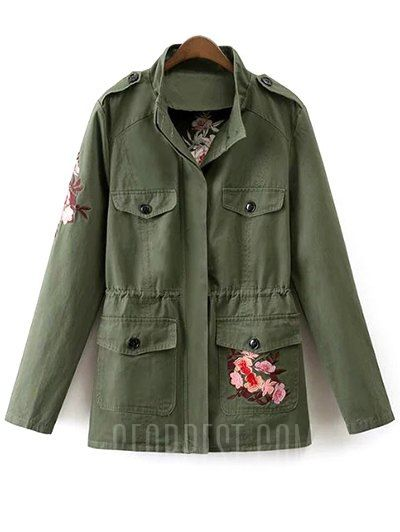 Stand Neck Tiger Embroidered Military Jacket  a8e880df65