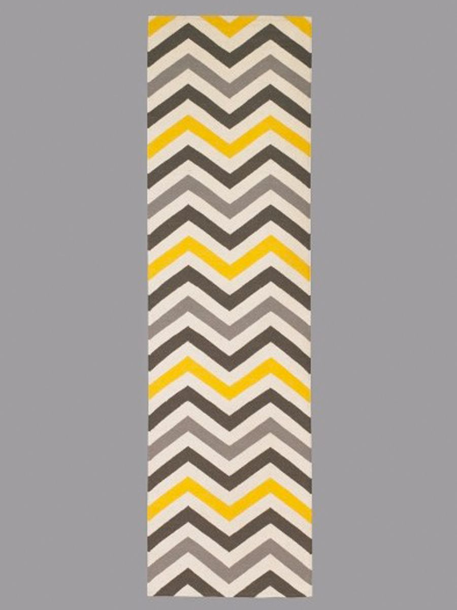 Yellow Gray Chevron Runner This Would Be Perfect For Our Hallway