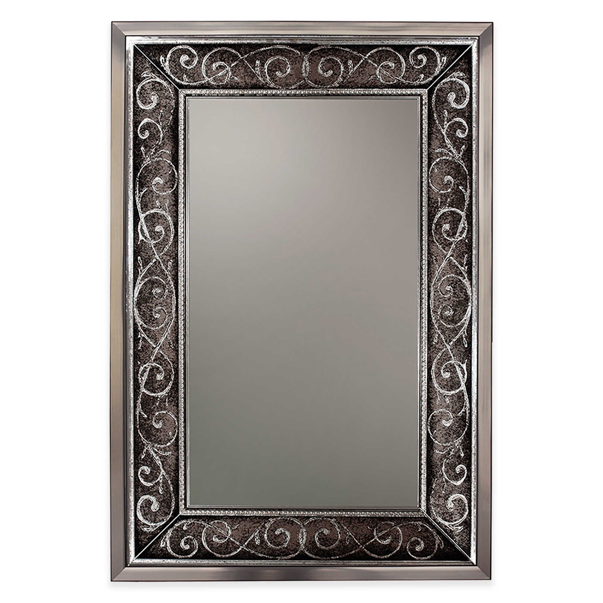 Verona 24 Inch X 36 Inch Mirror In Brushed Nickel Silver Wall Mirror Mirror Wall Mirrors Wayfair