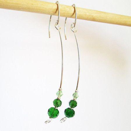 Brincos cristais verdes | prata