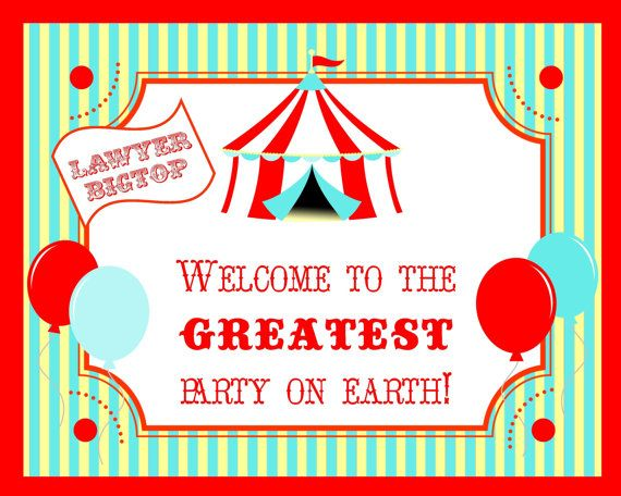 Circus Carnival Big Top Welcome Sign - 8x10 Poster - PRINTABLE - By